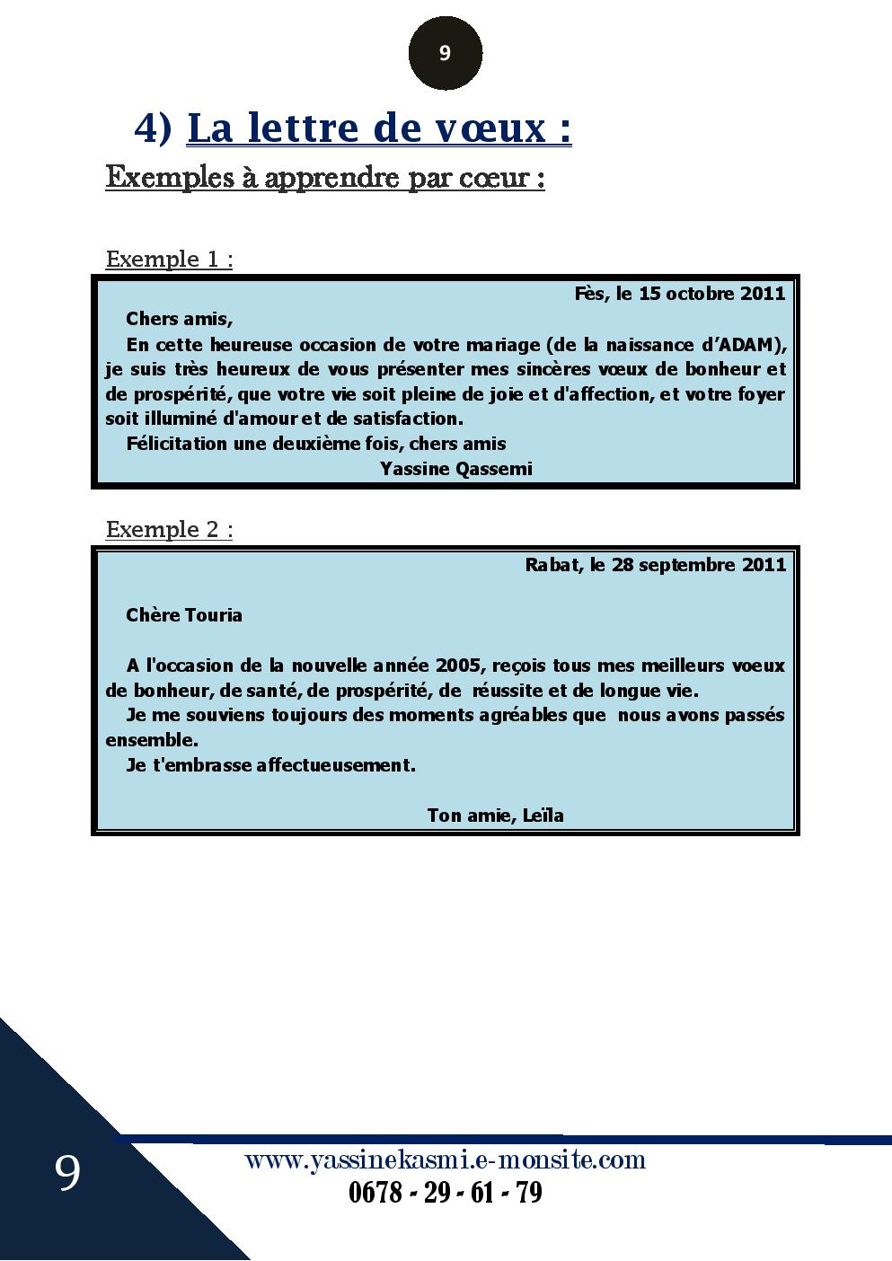 دروس الفرنسية La Lettre De Voeux الثالثة إعدادي Doross