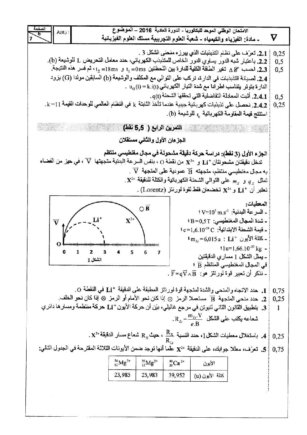 امتحانات الفيزياء وطني 2016 الثانية باك علوم فيزيائية