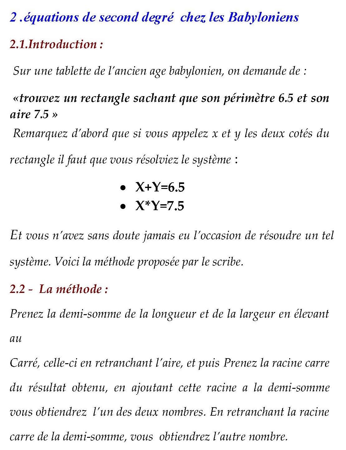 équations de second degré  chez les Babyloniens