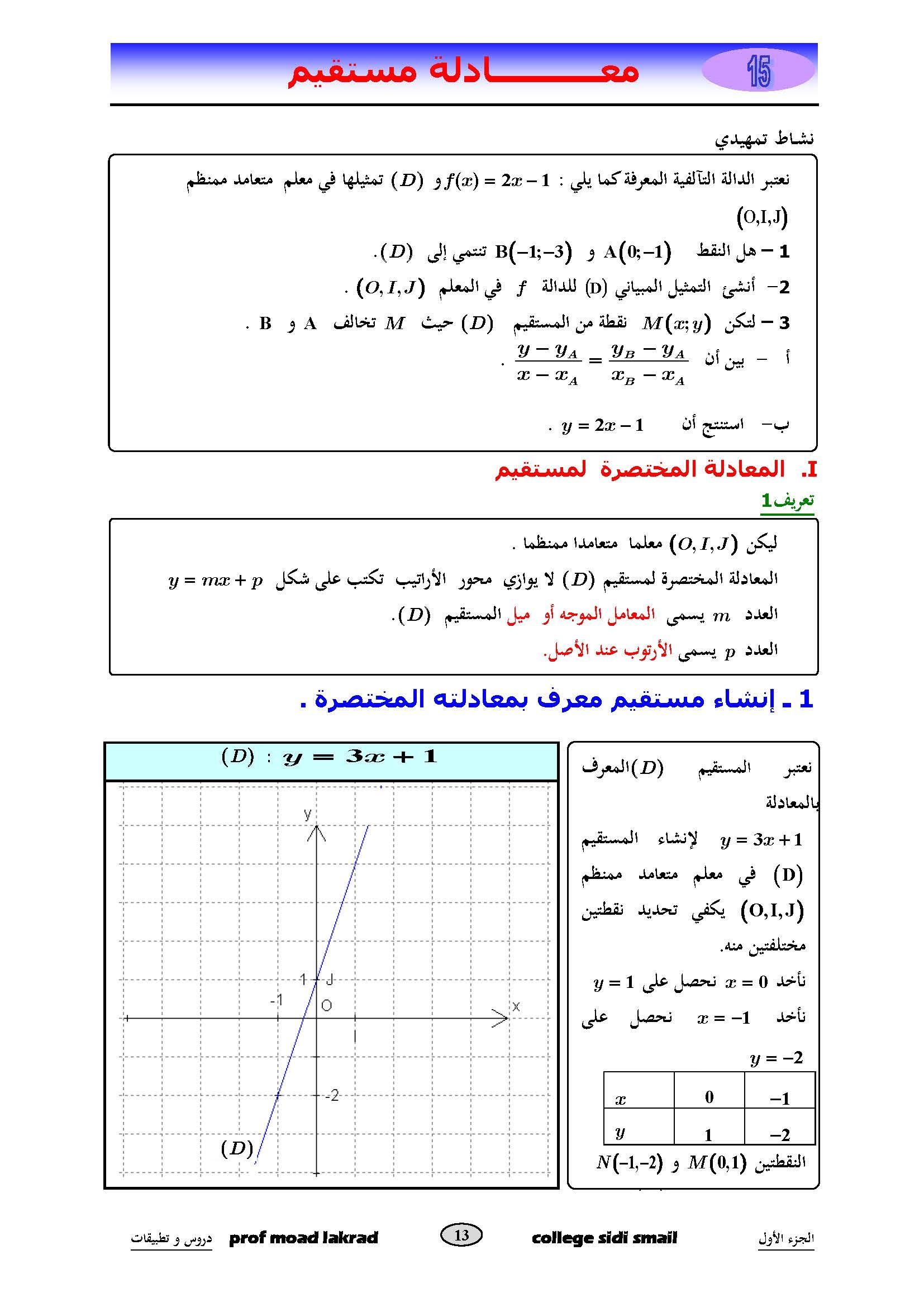دروس الرياضيات:  معادلة مستقيم | الثالثة إعدادي