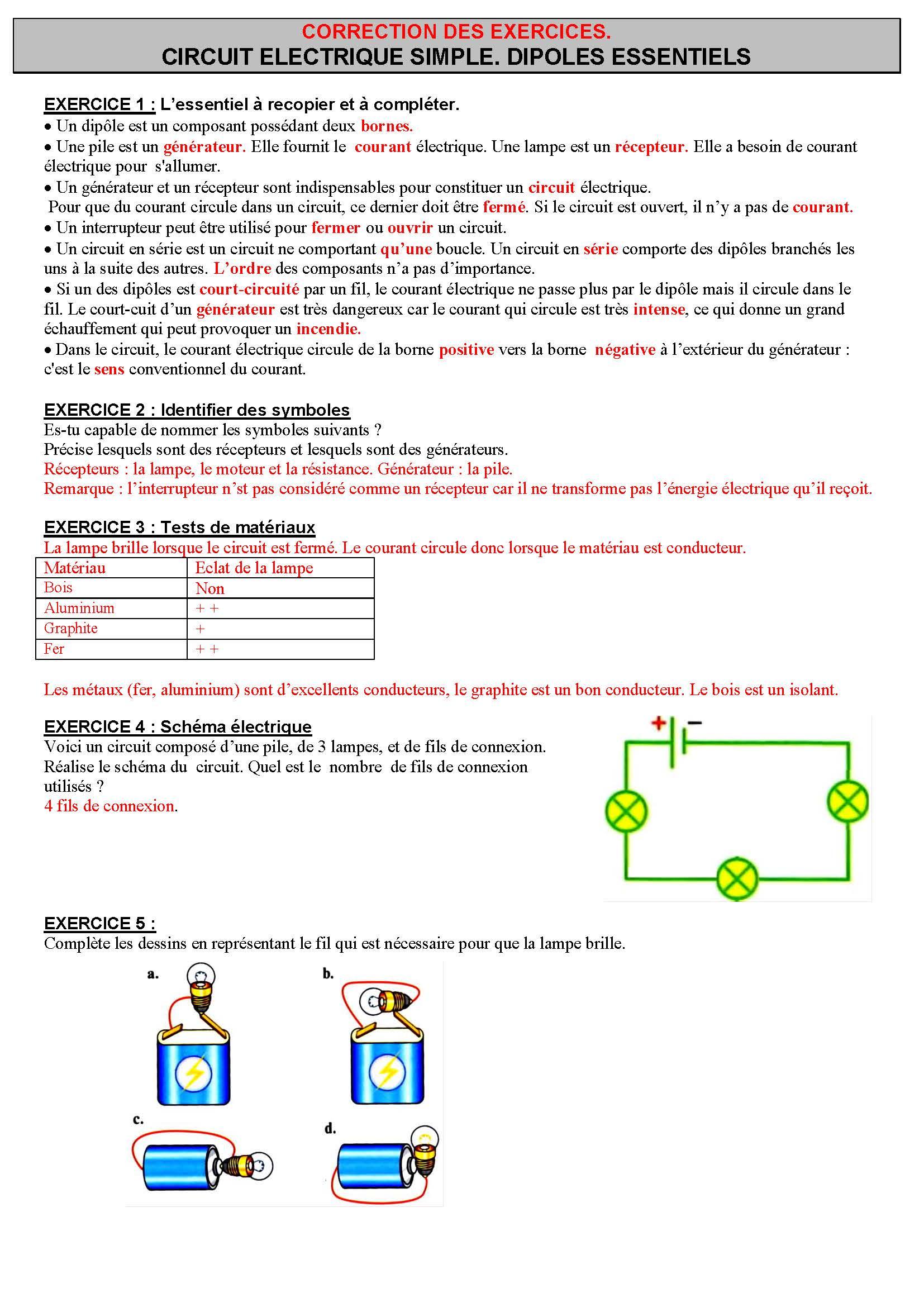 تمارين الفيزياء : CIRCUIT ELECTRIQUE SIMPLE. DIPOLES ESSENTIELS| الثالثة إعدادي خيار فرنسي