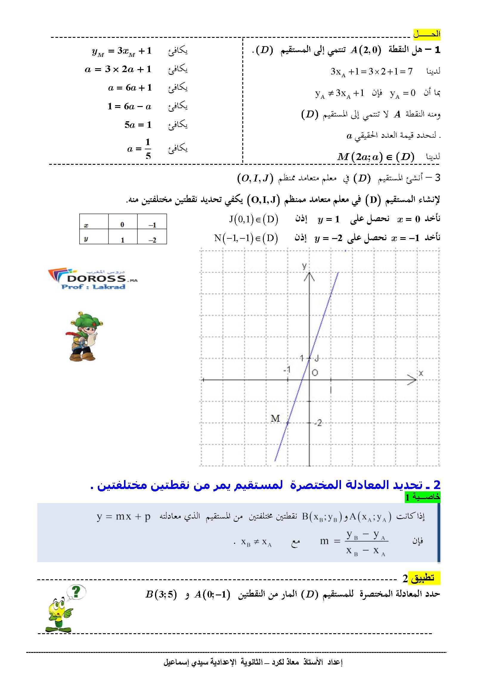 دروس الرياضيات : درس + تطبيقات معادلة مستقيم   الثالثة إعدادي