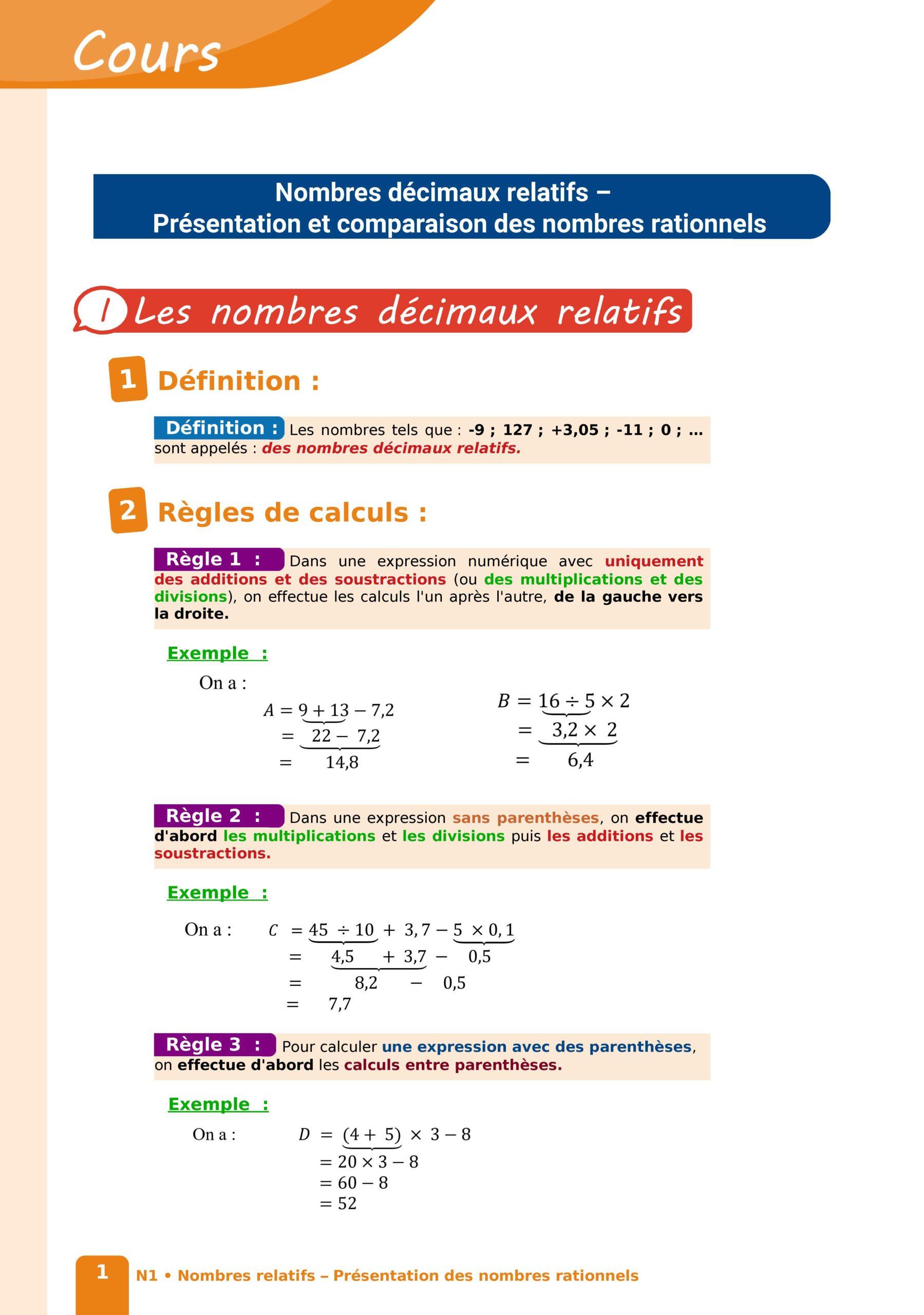 Présentation et comparaison des nombres rationnels