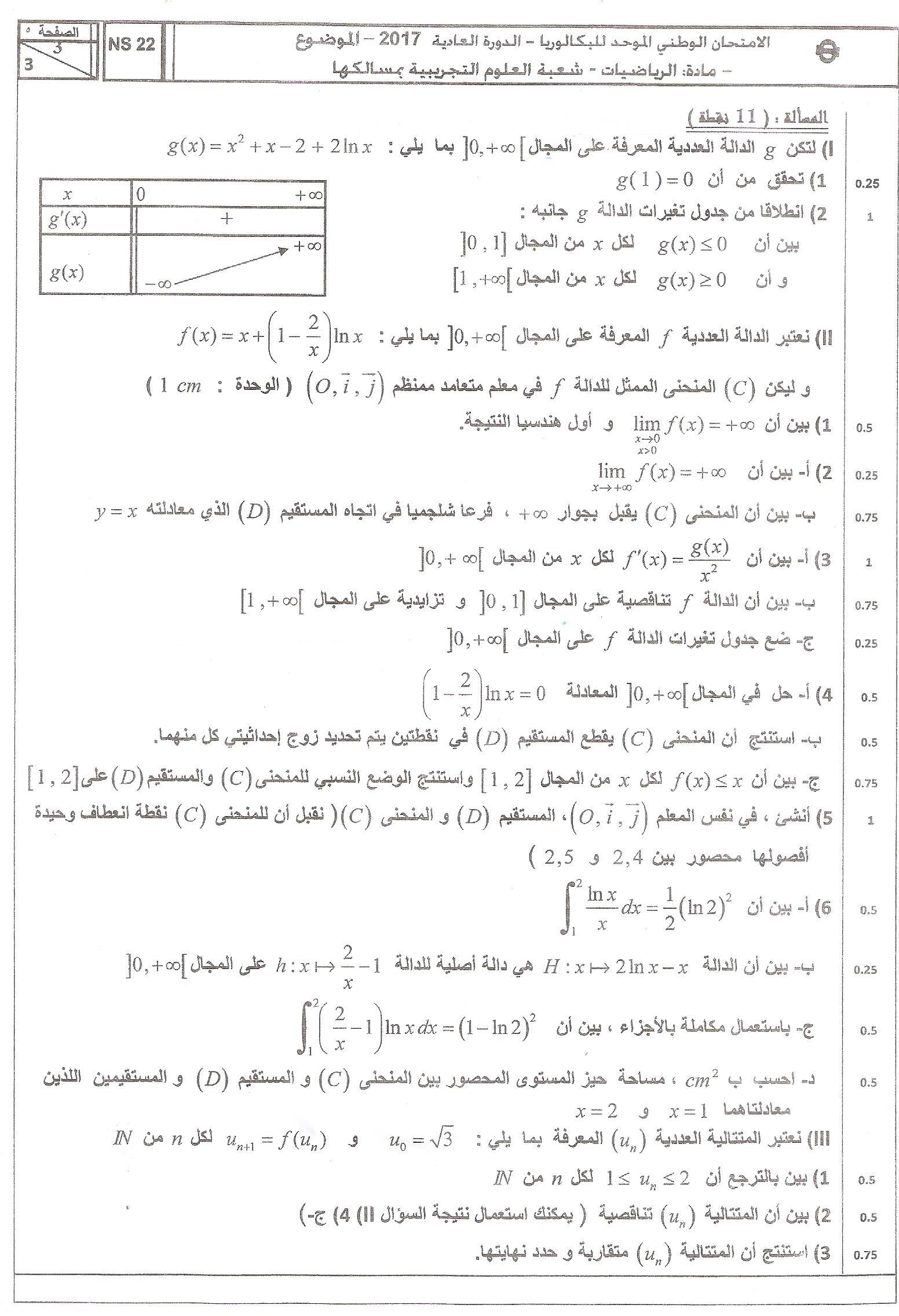 إمتحانات الرياضيات : وطني 2017 العادية + التصحيح |الثانية باك PC ; SVT –  Doross.ma دروس المغرب